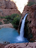 "Havasu Falls Backpacking Trip, Oct '09 : (USE THE SLIDESHOW FUNCTION, far right, for nice full-screen pictures.) This was such a fun backpacking trip.  Havasu Falls is in the west end of the Grand Canyon, along a creek that flows into the Colorado River.  The hike itself involves a steep switchbacked trail for the 1st mile or so, then a more gradual descent through layers and layers of rock.  At the 8 mile mark you arrive at the Native American village of Supi where everyone checks in.  From there its about another 2 miles to the campground where we stayed.  The campground itself is a mile long.  There are 3 main waterfalls from the Supi village to the end of the campground:  ""New"" Navajo Falls, Havasu Falls, and Mooney Falls.  There are also other mini falls along the way.